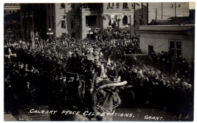 Calgary Peace Celebrations. Grant., 20th century. Firefighters Museum of Calgary Collection (95-01-1701 recto)